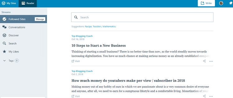 Following ‹ Reader — WordPress com
